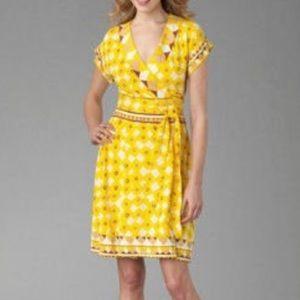 Diane vonFurstenberg DvF Nalia yellow wrap dress 4